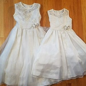Other - Set of 2 Ivory Flower Girl Floral Beaded Dresses